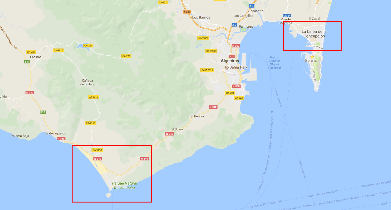 карта экскурсии на юге Испании
